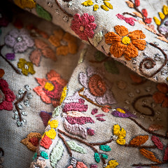Monday, March 27,2017: Cloth/Textile (shreya59) Tags: macromondays clothtextile embroidery handembroidery colourful linen handwork macro nikon