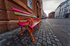 La vie en rose (marko.erman) Tags: ljubljana slovenia slovenija street view lavieenrose perspective city urban exploration colored bench sony