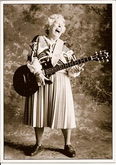 AAW RR 800 from Nathalie71 - Young Guitar Old Lady (poppy cocteau) Tags: blackandwhite laughing guitar postcard oldwoman