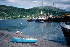 Fishing boats in harbour, Ullapool (1996) (Duncan+Gladys) Tags: uk scotland ullapool rossandcromarty
