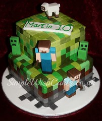 minecraft Birthday Cake (Simple Wish Cakes) Tags: birthday green cake square fondant minecraft