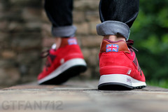 "New Balance 577 ""Country Fair"" - Red (GTFan712) Tags: new uk canon shoe 50mm shoes f14 sneakers made sneaker balance 577 newbalance countryfair madeinuk t2i newbalance577 gtfan712 577countryfair 577cfr"