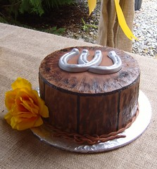 Horseshoe Groom's Cake (MammaTessies) Tags: chocolate yellowflower horseshoes groomscake