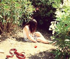 Garden Of Eden (VickyElleBurton) Tags: flowers sun holiday selfportrait me apple girl garden snake gardenofeden skirt knowledge eden menorca expansion forbiddenfruit 52week