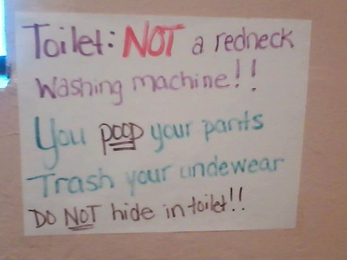 Toilet: Not a Redneck Washing Machine!! You poop your pants Trash your underwear Do not hide in toilet!!