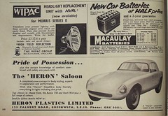 'The Heron' kit car advert (Car Mechanics magazine, August 1961) (RETRO STU) Tags: austin7 carmechanicsmagazine austin750 heronplasticsltdofgreenwich theheronsportscar theeuropasportscar fibreglasscarbodies fordprefecte93a