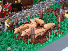 04 (CyberPacket) Tags: wood bridge party horse house tree tower castle classic rock wooden war king village lego forrest battle medieval well drawbridge forge stable moc