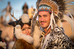 Burning Man 2013 (yannha) Tags: party portrait woman man sunrise costume couple tribal burningman abraxas canon85mm18 2013 burningman2013