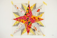 Star for the medallion quilt (balu51) Tags: pink orange oktober white yellow grey star quilt sewing wip quilting 60mm patchwork doublestar 2013 centerstar medallionquilt lowvolume