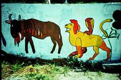 Bite ya bum, I will (mikeasaurus) Tags: italien blue red urban italy brown rot animals yellow wall germany graffiti lomo lca xpro crossprocessed kodak wand gelb braun blau expired vignetting ektachrome e100gx sdtirol southtirol graffitiarcheology urbanviews lomocam 2013 autaut september2013