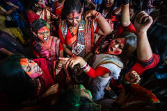 Celebrating Durga Puja 2013 (AvikBangalee) Tags: life girls friends red colors festival youth fun dance women prayer religion goddess culture lifestyle celebration event enjoy dhaka dailylife hindu hinduism saree bangladesh durgapuja doshomi goddessdurga kalabagan shindoor vision:night=0745