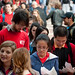 Students line up for Wednesdays' Wear Red, Get Fed event on the Brickyard.