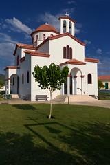 Orthodox Church - Greece Epirus (massonth) Tags: blue sky white green church field canon eos greece masks orthodox ligia luminosity epirus 60d massonth