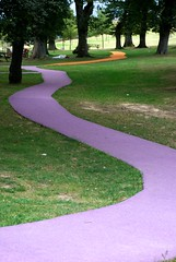 The coloured pathway (Khaled Galal) Tags: park trees orange abstract green garden purple bend path perspective colored curve coloured depth pathway