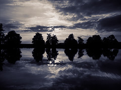 The Pond, the Trees & the Two Skies II (JB Morlot) Tags: sunset sky lake france reflection tree mamiya film water monochrome sepia clouds mediumformat river landscape dawn countryside fishing pond solitude loneliness dusk decorative space faith fineart calm silence zen serenity duotone dreamy abstraction ripples meditation wilderness relaxation 6x45 eternity mystic timeless endless otherworld purity tranquillity multispace 654e