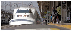 Shinkansen Bullet Train at Himeji Railway Station, Himeji  Japan (AmnesiArt) Tags: voyage trip travel people white cinema castle film tourism lines station japan speed train asian japanese design asia track