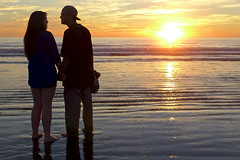 cap (kevinandmclean) Tags: sunset sun reflection beach water photography couple santamonica romance beachphotography liminalzone