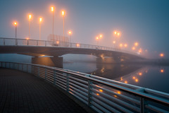 Fog Bridge (Mikko Lagerstedt) Tags: morning bridge urban mist reflection water misty fog sunrise lens landscape pc mac path fineart foggy rail tutorial vr lightroom waterscape nikond800 nikon1635mm mikkolagerstedt