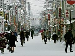 magari (2) 1969-02-23 / Akita-ke  (palMeir) Tags: street snow 1969 japan  1960s