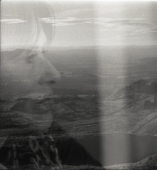 mum + mountain (ja nina) Tags: england blackandwhite bw mountain berlin film analog canon 50mm lights unitedkingdom iso400 doubleexposure scan scanned sw a1 analogue canona1 canonfd50mm18 canonfd schwarzweis doppelbelichtung rolleifilm rolleiretro400 joemann
