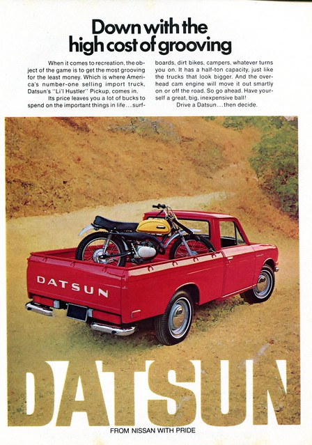 hot truck magazine pickup advertisement lil april rod hustler 1972 datsun senseialan