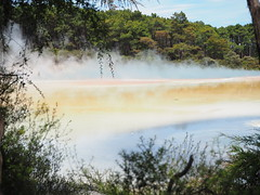 Champagne Pool, Wai-O-Tapu Geothermal Reserve, Rotorua NZ (Kalpesh Patel.) Tags: steam natural beauty colour smell landscape scenic overwhelming waiotapu geothermal reserve rotorua nz maori magical sight hot spring volcanic sky cloud earth smoked reflection newzealand northisland