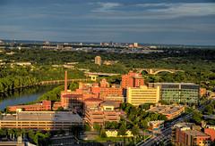 University Medical Center from Riverside Plaza (schwerdf) Tags: 10thavenuebridge aerialviews bridges cedarriverside downtownstpaulskyline goldenhour hdr i35wstanthonyfallsbridge minneapolis minnesota riversideplaza universityofminnesota universityofminnesotamedicalcenter