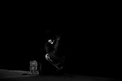 Tuffn' It  !!!!!!!!!! (imagejoe) Tags: vegas nevada street strip black white photography photos reflection shadows people nikon