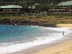 Near empty beach (thomasgorman1) Tags: beach hotel person sand lanai hawaii sea ocean rocks