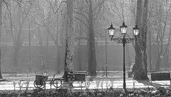 A little rest (vittorio vida) Tags: rest park street people sarajevo bosnia lamp trees mist work light