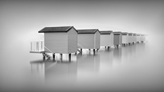 Into the mist - Explored, many thanks (LJP40) Tags: hut huts mono monochrome blackandwhite blackwhite bw nikon nikond700 longexposure le essex estuary water beachhut beachhuts eerie steps minimal