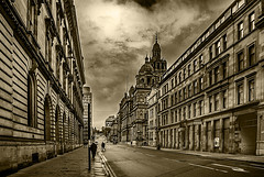 South Frederick Street Glasgow Mono (Brian Travelling) Tags: southfrederickstreet glasgow original arty mono straightroad converginglines perspective people sandstone stone tenement flats appartments citychambers sky skyscape skyline clouds cloud blackandwhite