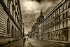 South Frederick Street Glasgow Mono (Brian Still Travelling) Tags: southfrederickstreet glasgow original arty mono straightroad converginglines perspective people sandstone stone tenement flats appartments citychambers sky skyscape skyline clouds cloud blackandwhite