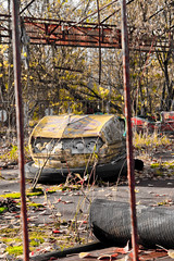 Chernobyl amusement park bumber car (MoraTilTordis) Tags: park car amusement radiation ukraine bumper disaster second chernobyl pripyat