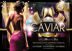 Caviar Night Flyer Template (BriellDesign) Tags: party summer holiday black hot sexy girl club print fun gold dance flyer colorful drink deluxe champagne style nightclub advertisement celebration glossy event drinks vip elegant template exclusive caviar