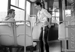 Encounter. ... (PeeTNeeT) Tags: bw girl jeans publictransport autobus encounter whiteshirt lookingbackward peetneet flashfire hairintail