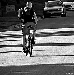 6-16-13  se 4 (nevikk) Tags: bw bicycle cyclist head shaved backpacking headingnorth