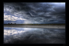 Let's run (Kemoauc) Tags: cloud france reflection beach nikon brittany bretagne drama topaz finistere penmarch photomatix d300s kemoauc