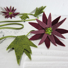 Burgundy Zinnia Lariat Necklace (Katy Kristin) Tags: flower green wool nature glass leather botanical necklace katy natural wine burgundy olive felt kristin mum kawaii statement daisy mauve lariat zinnia boho suede zakka