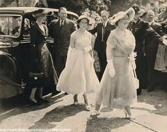 Princess Margaret attends wedding (romanbenedikhanson) Tags: 1953 queenmother elegance princessmargaret originalphoto widebrimmedhat attendwedding