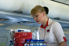Air Arabia flight attendant (Osdu) Tags: people girl lady inflight cabin flight crew airbus hostess russian stewardess attendant a320 flightattendant cabincrew stewardes russiangirl airarabia a320 a6abf