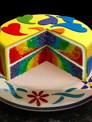 Rainbow Cake (Cute Sweet Thing) Tags: birthday white cake hearts rainbow mud chocolate how tutorial
