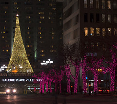 Ave McGill College, Montral (monilague) Tags: lighting christmas street city trees winter red reflection car yellow pine night jaune buildings rouge lights town automobile december montral time lumire montreal hiver arbres lamps temps rue nuit arbre phare ville lumires dcembre rflexion ftes lampadaires difices illumin