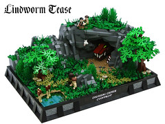 Lindworm Tease (Disco86) Tags: trees castle classic paul dragon lego von contest foliage cave ccc colossal lcc cccxi brickenstein vision:outdoor=0917