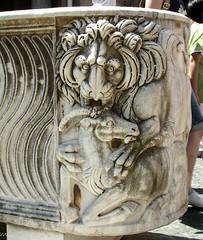 Lion devouring a goat (Tiigra) Tags: 2007 italy rome vatican animal carving hairdo interior lion ornament otheranml sculpture lazio art pattern