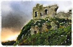 Strongbows Castle-Painted (Firery Broome) Tags: blue ireland painterly green castle watercolor landscape gray olympus digitalpainting 365 textured strongbow apps digitalpaint ipad paintedphoto brownorange digitalartpainting 570uz vision:mountain=0845 vision:plant=0764 vision:sky=0577 vision:outdoor=0972 waterlogue