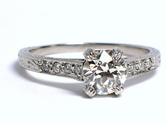Old European Cut Diamond Engagement Ring (theappraiserlady) Tags: diamonds vintage engagement antique engagementring ring weddingring platinum engraved anillo diamondring prongs diamantes theappraiserlady oldeuropeancutdiamond giadiamondreport