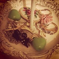 (kirstylyn) Tags: apple floral rose cat vintage crossstitch brooch jewellery earrings