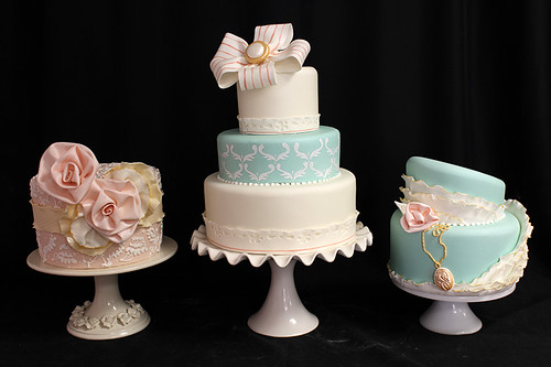 Tiffany Blue Wedding Cakes Trio