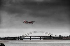EasyJet approaching Liverpool John Lennon Airport (foggyray90) Tags: liverpool jet mersey easyjet jubileebridge runcorn flightpath widnes runcornbridge liverpooljohnlennonairport